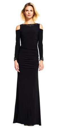 Long Sleeve Dress with Cutout Shoulders and Jewel Neck