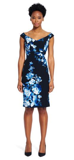 Off the Shoulder Crepe Floral Sheath Dress