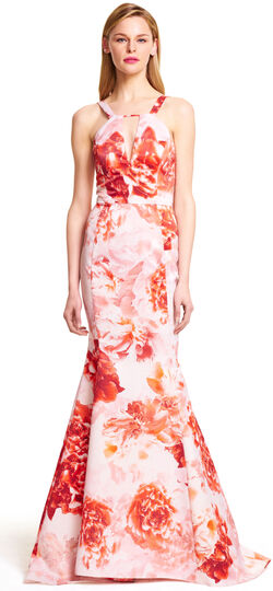 Halter Floral Printed Satin Mermaid Gown with Train