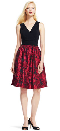 Fit and Flare Dress with Metallic Rose Print Skirt
