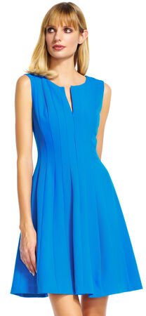 Paneled Fit and Flare Dress with Zip Up Front
