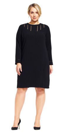Long Bell Sleeve Shift Dress with Cutout Accents