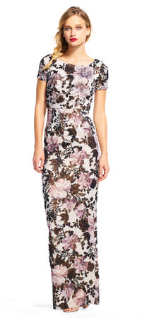 Metallic Floral Column Gown with Short Sleeves