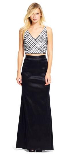 Beaded V-Neck Top with Taffeta Skirt