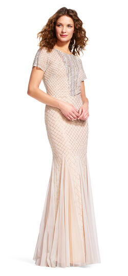 Short Sleeve Mermaid Dress with Beaded Neckline