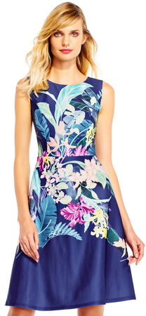 Sleeveless Tropical Print Scuba Fit and Flare Dress