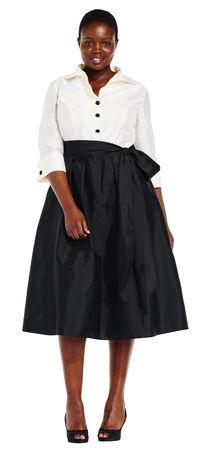 Taffeta Midi Dress with Blouse Design