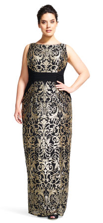 Metallic Scroll Embroidered Lace Column Gown