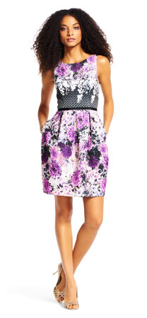 Floral Media Print Fit and Flare Dress with V-Back