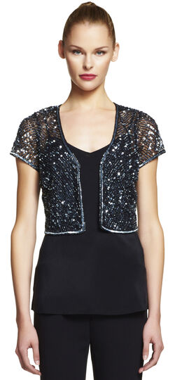 Short Sleeve Beaded Tulle Jacket