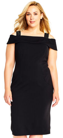 Off the Shoulder Crepe Sheath Dress with Beaded Straps