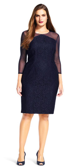 Lace Sheath Dress with Sheer Mesh Three Quarter Sleeves