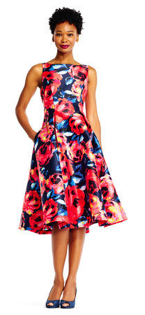 Floral Mikado Midi Dress with V-Back
