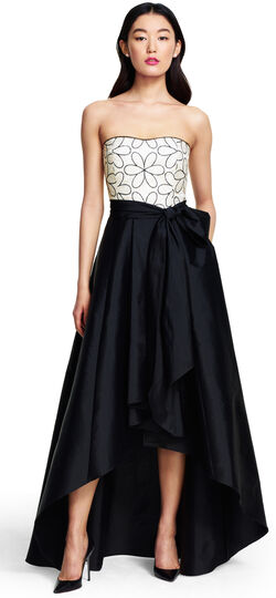 Strapless Taffeta High Low Ball Gown