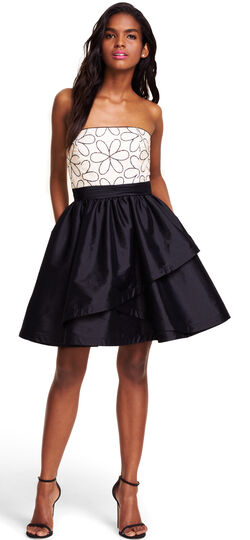 Strapless Taffeta Party Dress with Mod Floral Embroidery Bodice
