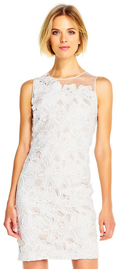 Floral Crotchet Lace Sheath Dress with Sheer Details