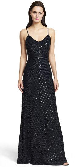 Sleeveless Fully Beaded V-Neck Gown