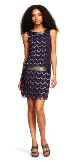 Scalloped Beaded Cocktail Dress