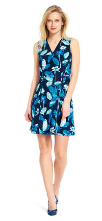 Printed Eyelet Fit and Flare Dress