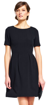 Short Sleeve Fit and Flare Dress with Pleated Skirt