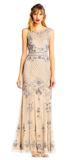 Sleeveless Beaded Godet Dress with Illusion Neckline