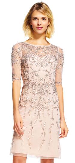 Three Quarter Sleeve Beaded Dress