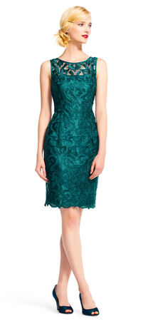Sleeveless Lace Cocktail Dress with Sheer Neckline