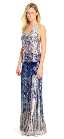 Ombre V-Neck Gown