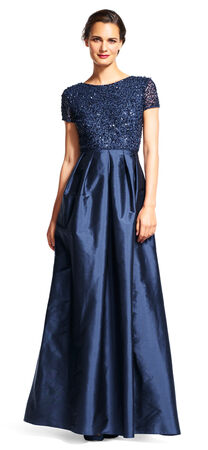 Cap Sleeve Taffeta Ball Gown with Sequin Bodice