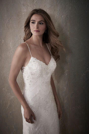 Backless Spaghetti Strap Sheath Wedding Dress with Beaded Lace - 31027