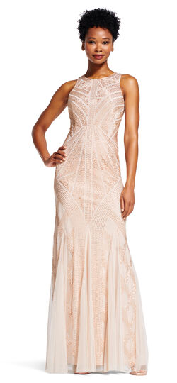 Beaded Halter Dress with Mermaid Skirt