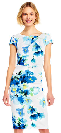 Short Sleeve Poppy Crepe Sheath Dress with Draped Neckline