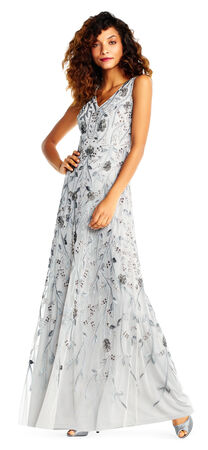 Sleeveless Beaded Floral Gown with Metallic Embroidery