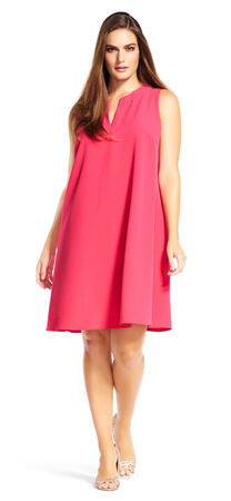 Sleeveless Shift Dress with Split Neckline