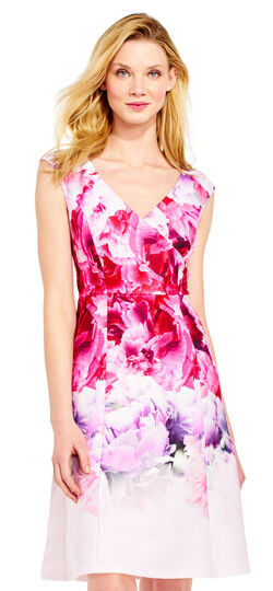 Ombre Peony Fit and Flare Dress with V-Neck