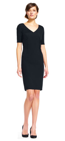Short Sleeve V-Neck Sheath Dress with Exposed Zipper
