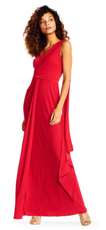 Draped Jersey Column Gown with Flyaway Accent