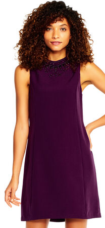 Mock Neck Shift Dress with Jeweled Neckline