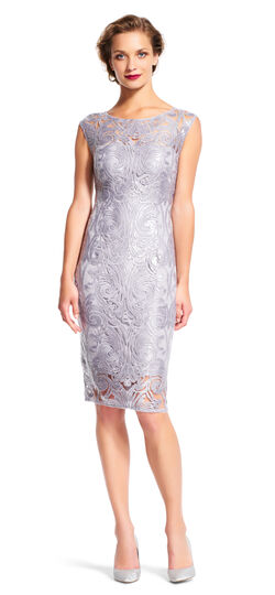 Sleeveless Sheath Dress with Filigree Sequin Lace Embroidery