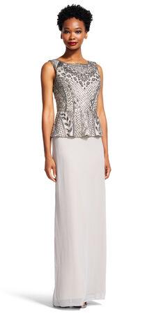 Sleeveless Peplum Dress with Vine and Grid Beading