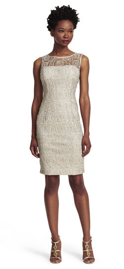 Sleeveless Metallic Lace Dress with Sequins