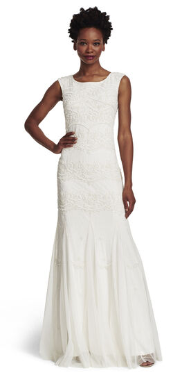 Long White Beaded Dress With Cap Sleeves