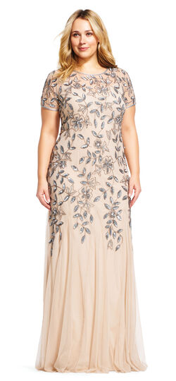 1920s Plus Size Dresses Floral Beaded Godet Gown $379.00 AT vintagedancer.com