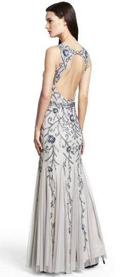 Sleeveless Fully Beaded Godet Gown