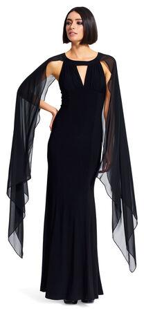 Jersey Crepe Cape Dress