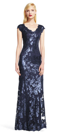 Cap Sleeve Sequin Lace Dress with V-Neck
