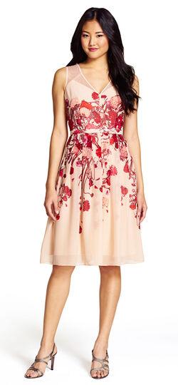 V-Neck Fit and Flare Floral Dress