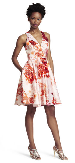 Satin Floral Printed Fit and Flare Dress