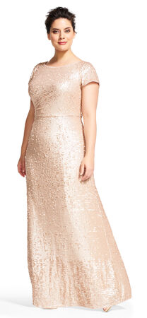 Short Sleeve Sequin Gown