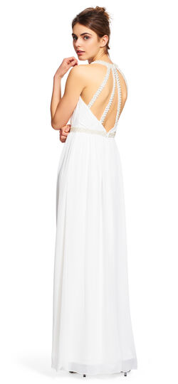Long beaded chiffon dress